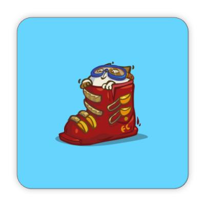 Костер (подставка под кружку) Лыжекот — Пятничный Котик №41