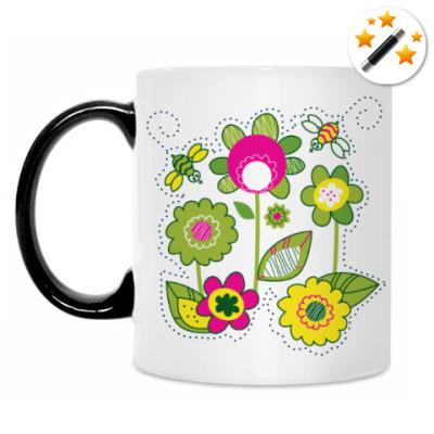 Кружка-хамелеон Солнечные цветы и пчелы