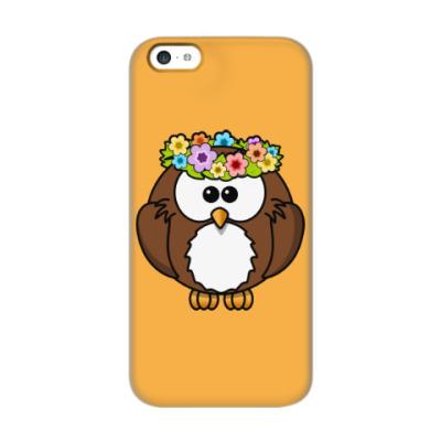 Чехол для iPhone 5c Сова с цветами