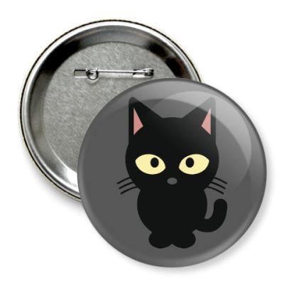 Значок 75мм Черный Котик