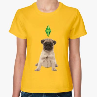 Женская футболка Милый мопс, THE SIMS