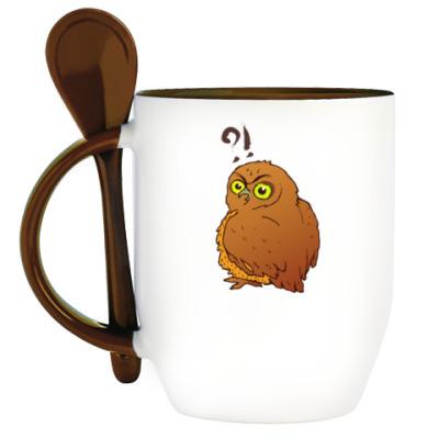 Кружка с ложкой Внезапная сова