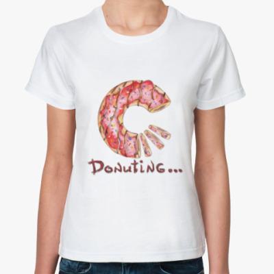 Классическая футболка сладкая иллюстрация с пончиком