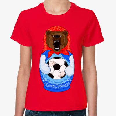 Женская футболка Футболист Медведь Матрёшка