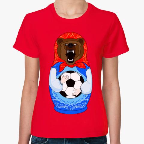b9451268baed Женская футболка Футболист Медведь Матрёшка - Прикольные футболки ...