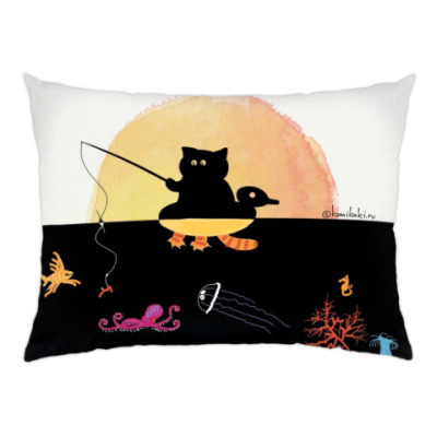 Подушка Морская рыбалка кота Комикаки
