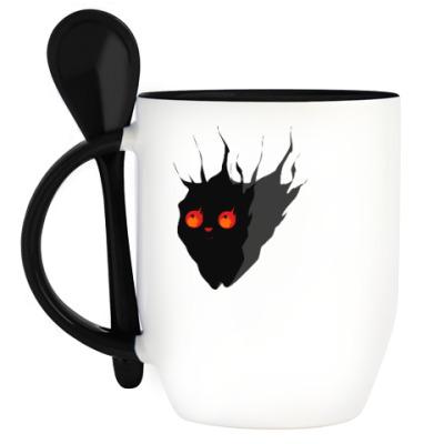 Кружка с ложкой Угольный кот