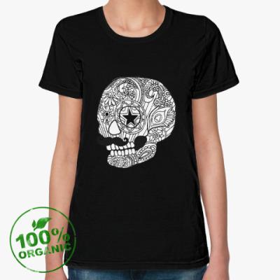 Женская футболка из органик-хлопка Череп с усами