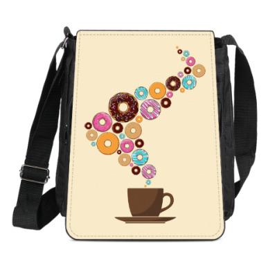 Сумка-планшет Кофе с пончиками