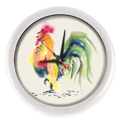 Настенные часы Петух символ 2017 акварельный
