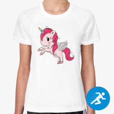 Женская спортивная футболка Единорог
