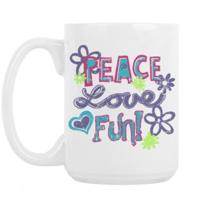 Кружка Мир, Любовь, Веселье!