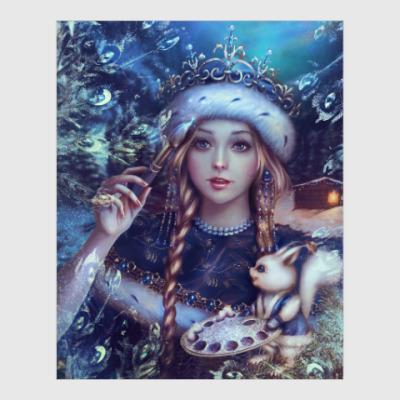 Постер Новогодняя Снегурочка с белкой