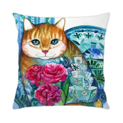 Подушка кот с пионами