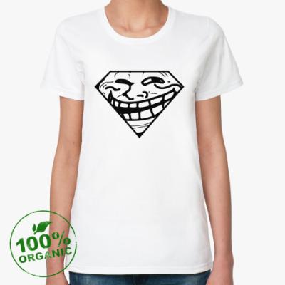 Женская футболка из органик-хлопка Trollface & Superman