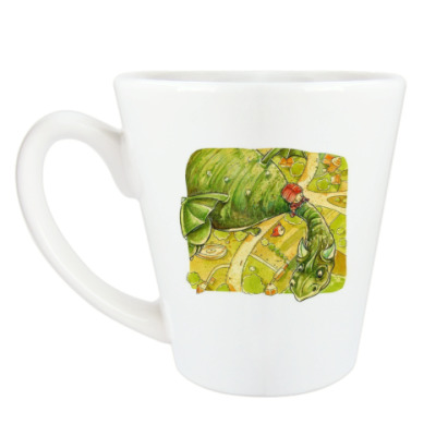 Чашка Латте 'Девочка и дракон'