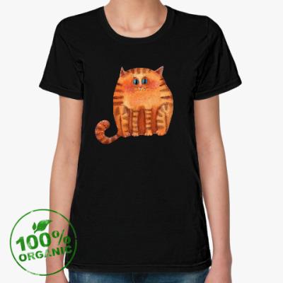 Женская футболка из органик-хлопка Акварельный рыжий кот