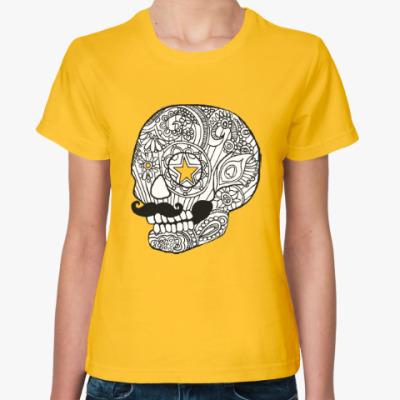 Женская футболка Череп с усами