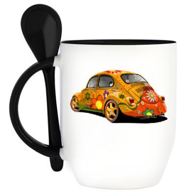 Кружка с ложкой Автомобиль для хиппи
