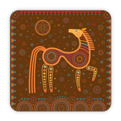 Костер (подставка под кружку) Лошадь в этностиле