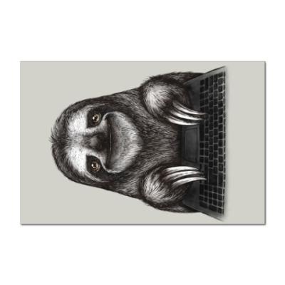 Наклейка (стикер) Ленивец компьютерный