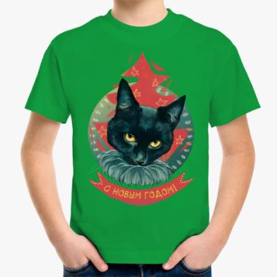 Детская футболка Новогодний черный кот
