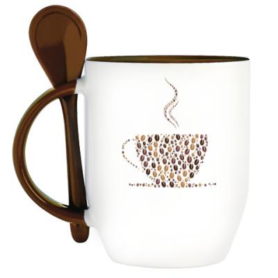 Кружка с ложкой Кофе из кофейных зерен
