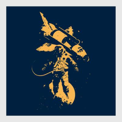 Постер Космонавт и Шаттл