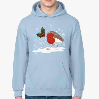Толстовка худи Рождественский снегирь