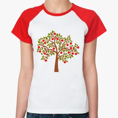 Женская футболка реглан Яблоня