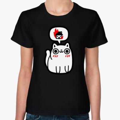 Женская футболка Котик злой