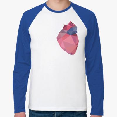 Футболка реглан с длинным рукавом Полигональное сердце