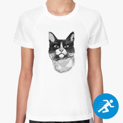 Женская спортивная футболка Кот