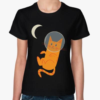 Женская футболка Кот-Космонавт