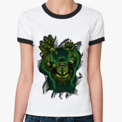 Женская футболка Ringer-T ХАЛК (HULK)