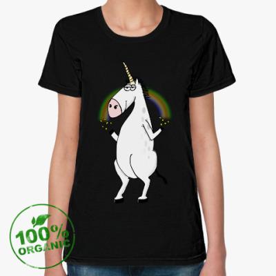 Женская футболка из органик-хлопка Единорог