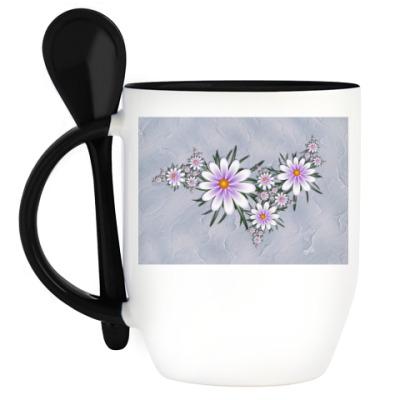 Кружка с ложкой Нежные цветы