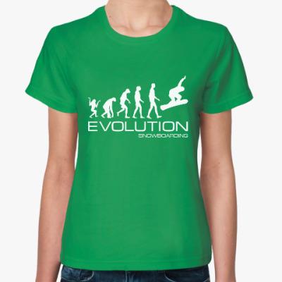 Женская футболка Evolution snowboarding
