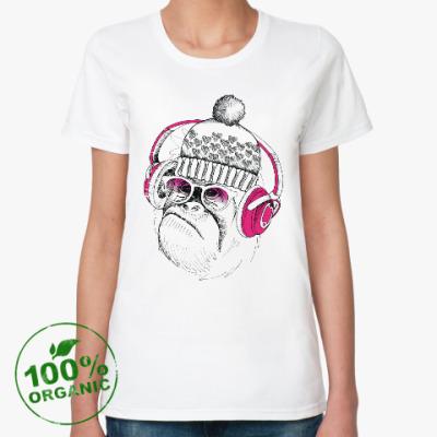 Женская футболка из органик-хлопка Новогодняя смешная обезьянка