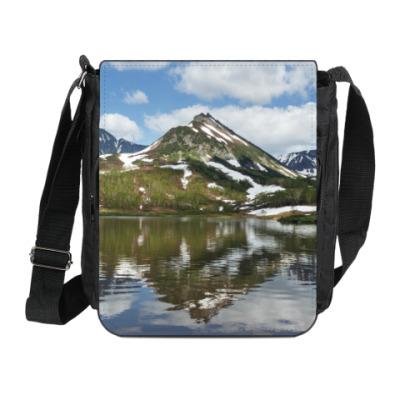 Сумка на плечо (мини-планшет) Полуостров Камчатка, горы, горное озеро, отражение