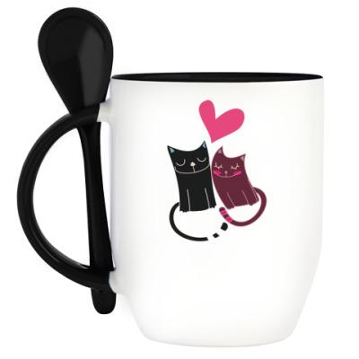 Кружка с ложкой Коты любовь