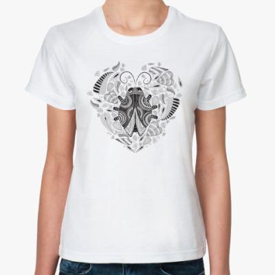 Классическая футболка Сердце и божья коровка