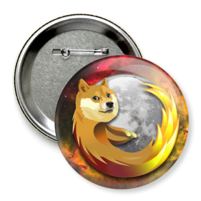 Значок 75мм Doge Firefox