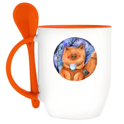 Кружка с ложкой акварельная иллюстрация, кот