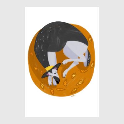 Постер Спящая восточноевропейская овчарка