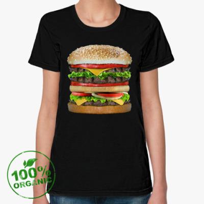Женская футболка из органик-хлопка Вкусняшка гамбургер