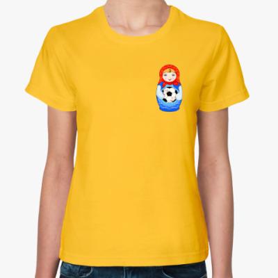 Женская футболка ЧМ 2018, матрёшка футболист