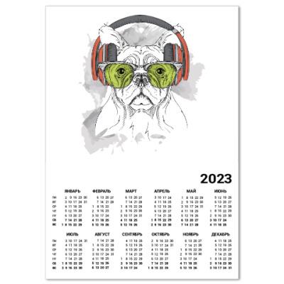 Календарь Собака в зеленых очках