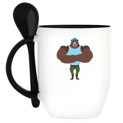 Кружка с ложкой Медведь с знаком вдв