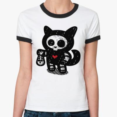Женская футболка Ringer-T Кот рыболов